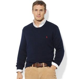 Polo navy crew neck cotton pullover sweater